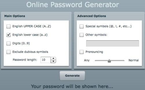online random generator