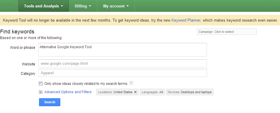 Alternative Google Keyword Tool