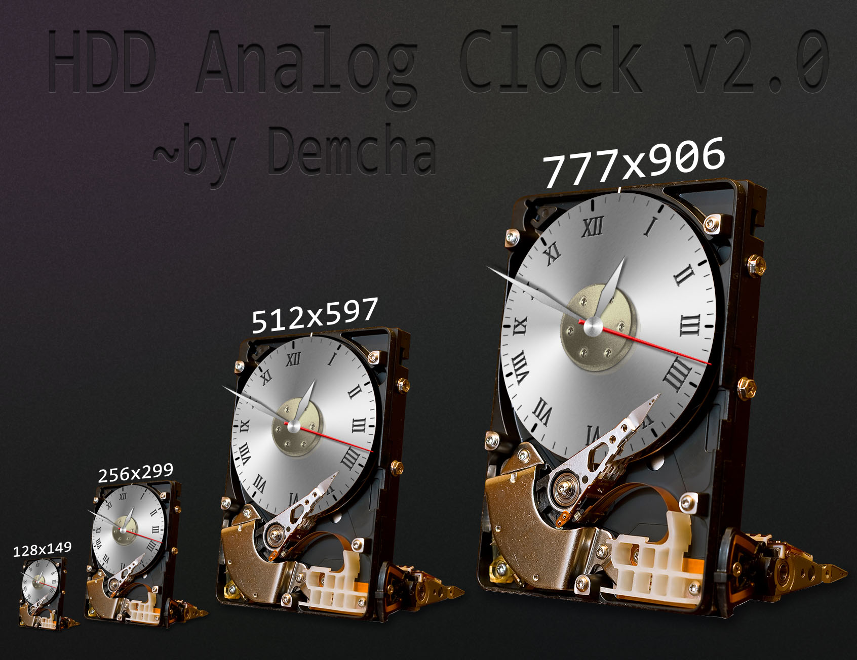 HDD Analog Clock v2.0 for Rainmeter