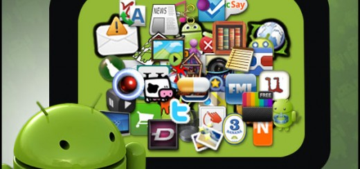 the android logo with numerous app icons